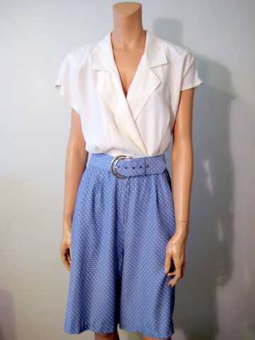 Vintage,1980's,Romper/Jumpsuit,Periwinkle,Blue,and,White,romper, jumpsuit, vintage 1980s, Blue and white, periwinkle, one piece outfit