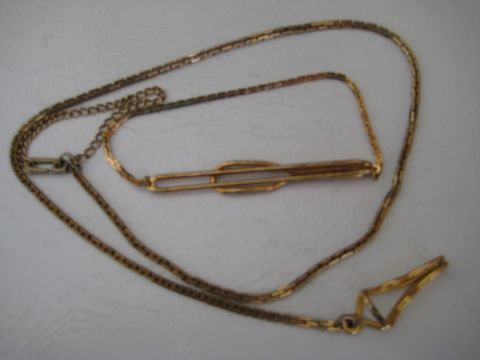 Vintage,Watch,Chain,and,Tie,Clip,Jewelry,swank,goldtone,tie clip,watch chain,1950s,1960s,mens accessories,watch and tie clip,mens watch chain,madmen accessories,Don Draper style,Swank accessories,gift for men,goldtone metal