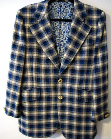 Vintage,Plaid,Sport,Jacket,Blue,1970's,Clothing,Vintage sport jacket,Blue plaid jacket,vintage sport coat,Sliverwoods jacket,silk wool blend,funky sport coat,vintage plaid coat,so cal style coat,blue and cream plaid,Mens blazer,Old Hollywood style,1970s mens jacket