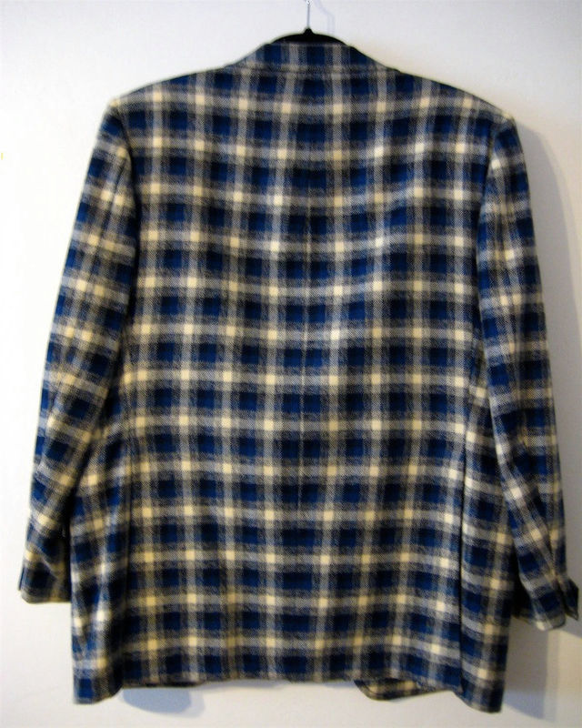 Vintage Plaid Sport Jacket  Blue 1970's - product images  of