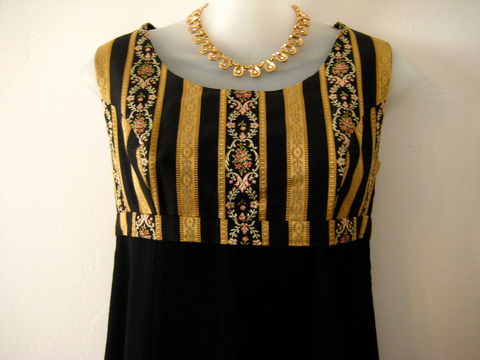 1960's,Brocade,and,Wool,Dress,Vintage,Clothing,Empire waist dress,brocade and wool,empire sheath,long dress,vintage long dress,wool dress,black wool dress,gold brocade dress,sleeveless dress,twiggy style,black long dress,1960s long dress,brocade,wool
