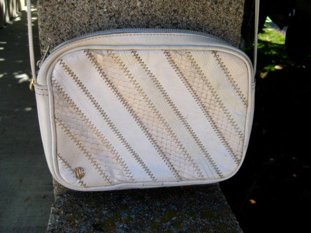 Designer Cross Body Bag Cream Leather Oleg Cassini Vintage 1980's - product images  of