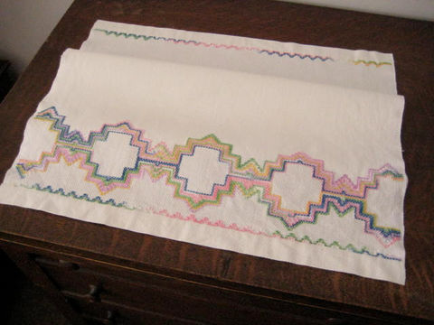 Vintage,Linen,Hand,Towel,Colorful,Embroidered,Housewares,kitchen towel,embroidery,linen hand towel,vintage linen towel,Pastel embroidered,Multi color towel,vintage hand towel,Pastel linen towel,Vintage Huck towel,Linen kitchen towel,Embroidered towel,Huck towel,linen
