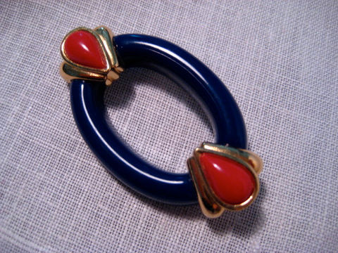 Acrylic,Brooch,Cobalt,Blue,with,Red,and,Gold,Oval,Vintage,Jewelry,vintage brooch,acrylic brooch,cobalt and red pin,blue and red pin,oval shaped pin,oval acrylic brooch,vintage oval brooch,classic oval brooch,vintage plastic pin,plastic oval brooch,blue oval brooch,cobalt vintage pin,vintage lapel