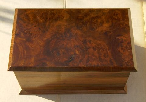 Wood jewelry box american burl walnut with white oak inlay for Solid wood jewelry chest