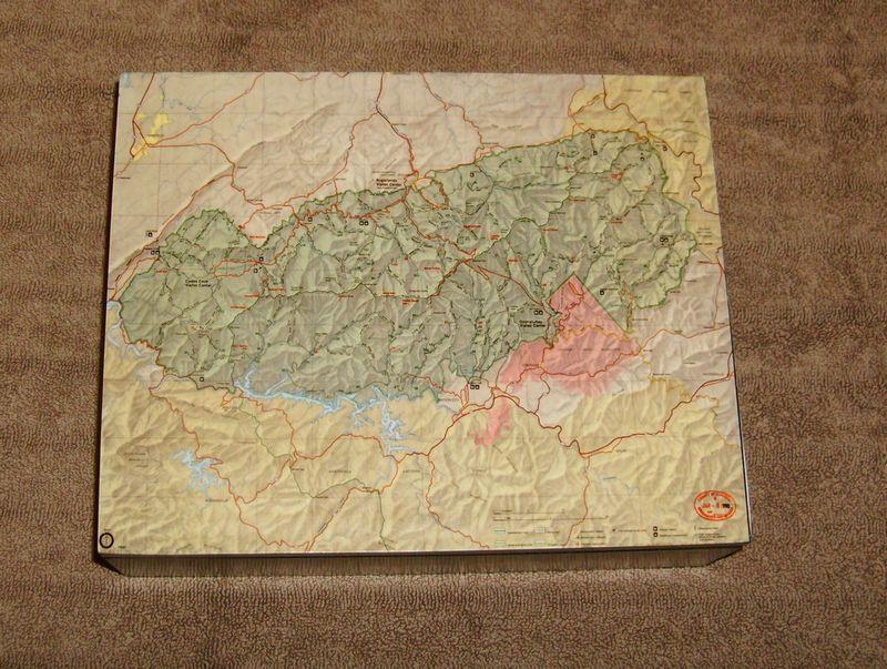 Keepsake box, Decoupage on wood of Great Smoky Mountain Trail Map ...