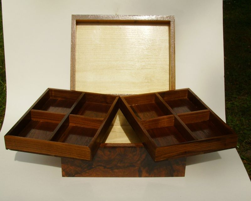 Wood Jewelry Box American Burl Walnut With White Oak Inlay