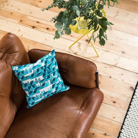 Greenland,Blue,Cushion,cushions, cushion, pillow, greenland, design, home decor, decor, furnishings, blue, blue and white, cabin, trees, nature, travel, pattern, patterned, scandi, scandinavian, nordic