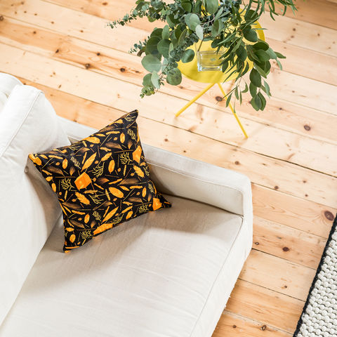 Nest,Building,Materials,Black/Orange,Cushion,cushions, cushion, pillow, pillows, design, home decor, decor, furnishings, nest, nest building, feathers, leaves, orange, mid century, patterned, pattern, black, cabins, cabin, aframe, nature, fir, trees