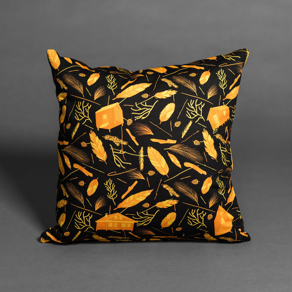 Nest Building Materials Black/Orange Cushion - product images  of
