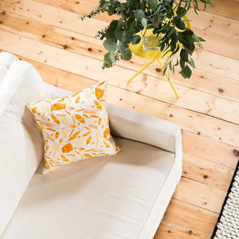 Nest,Building,Materials,White/Orange,Cushion,cushions, cushion, pillow, pillows, design, home decor, decor, furnishings, nest, nest building, feathers, leaves, orange, mid century, patterned, pattern, white, cabins, cabin, aframe, nature, fir, trees