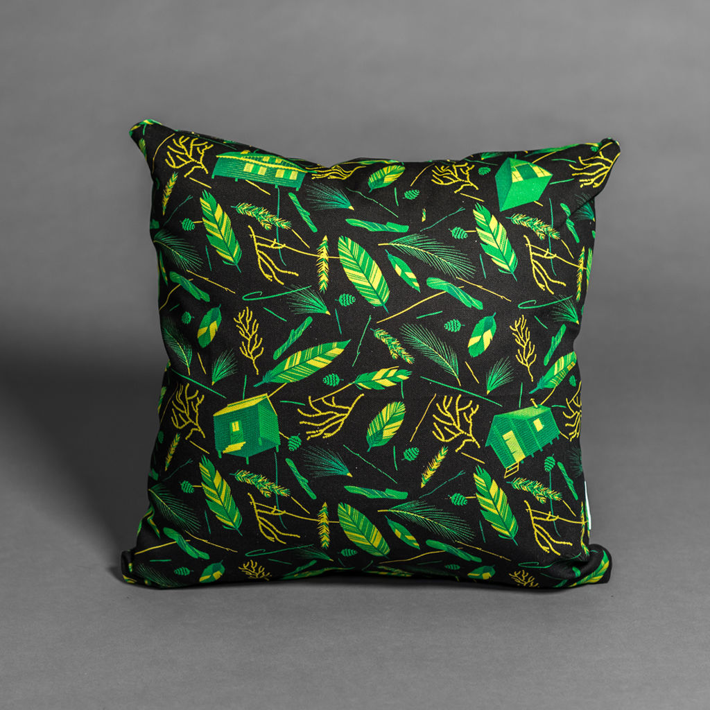 Nest Building Materials Black/Green Cushion - product images  of