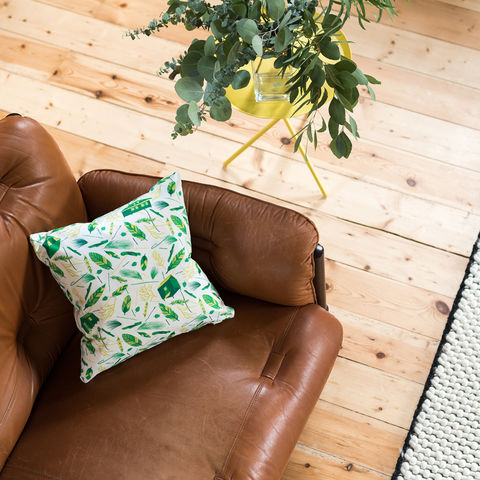 Nest,Building,Materials,White/Green,Cushion,cushions, cushion, pillow, pillows, design, home decor, decor, furnishings, nest, nest building, feathers, leaves, green, mid century, patterned, pattern, white, cabins, cabin, aframe, nature, fir, trees