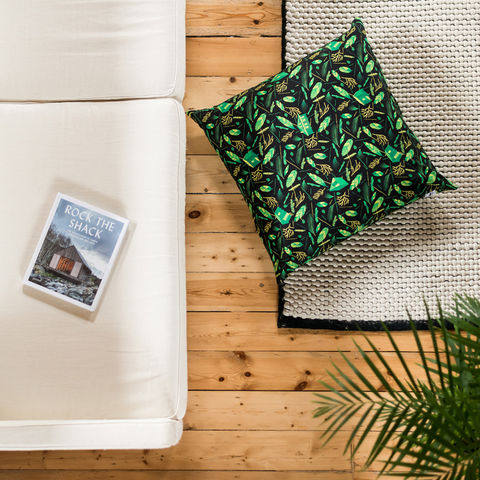 Nest,Building,Materials,Green/Black,Giant,Floor,Cushion,cushions, cushion, large cushion, pillow, pillows, design, home decor, decor, furnishings, nest, nest building, feathers, leaves, green, mid century, patterned, pattern, black, cabins, cabin, aframe, nature, fir, trees, floor cushion, giant floor cushion