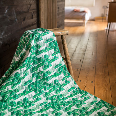 Greenland,Green,Fabric,greenland, fabric, textiles, green, green and white, scandi, designer, design, bespoke, cabin, cabins, material, trees, greenland, printed in the uk, british,