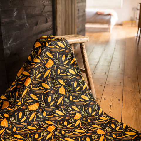 Nest,Building,Orange,Black/White,Fabric,black, black and orange, orange, fabric, textiles, upholstery, material, designer, design, nest, nest building, nests, british, soft furnishings, curtains, feathers, leaves, botanical,
