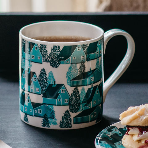 Greenland,British,Fine,Bone,China,Mug,mug, british, fine bone china, screen printed, cabins, cabin, greenland, blue, blue and white, trees, nature, nordic, scandi, alpine