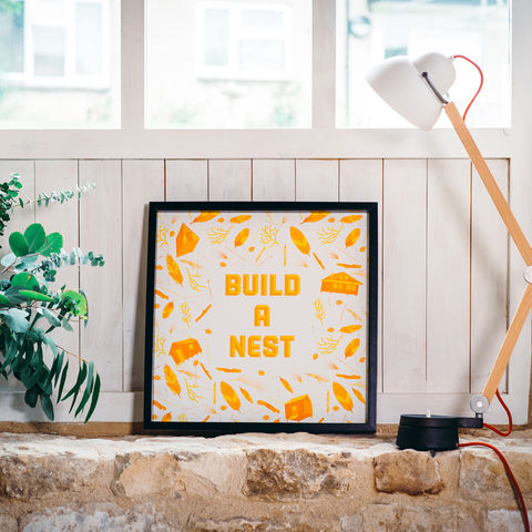 'Build,A,Nest',Orange,Art,Print,art, print, art print, illustration, poster, nest, nest building, build a nest, orange, orange and white, feathers, leaves, cabins, cabin, aframe