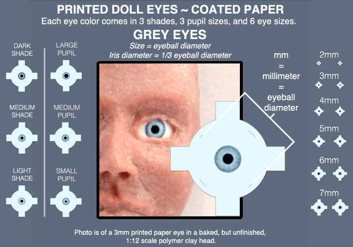 GREY DOLL EYES sheet of 18 pairs flat paper 5mm, 6mm, and 7mm eyeballs - product images  of