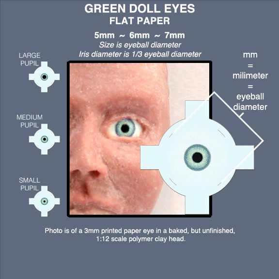 GREEN DOLL EYES sheet of 18 pairs flat paper eyes 5mm, 6mm, 7mm - product images  of
