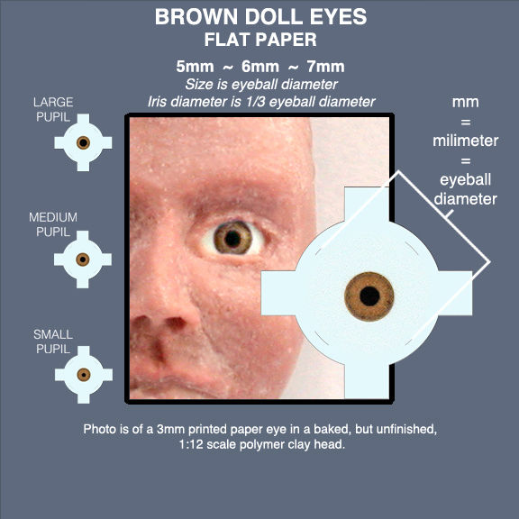 BROWN DOLL EYES sheet of 18 pairs flat paper eyes 5mm, 6mm, 7mm - product images  of