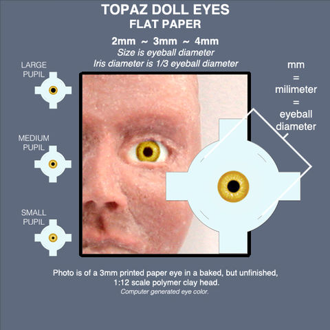 TOPAZ,DOLL,EYES,sheet,of,18,pairs,paper,eyes,2mm,,3mm,,and,4mm,mini eyes for polymer clay figures, yellow topaz fairy eyes, miniature doll eyes