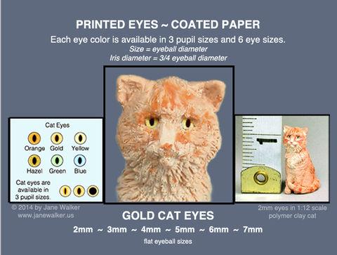 GOLD,CAT,EYES,sheet,of,18,pairs,paper,eyes,2mm,to,7mm,mini cat eyes for polymer clay figures,  eyes, miniature doll eyes, gold cat eyes