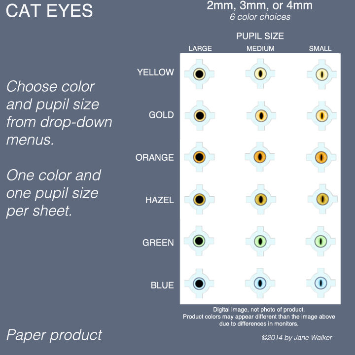 BLUE CAT EYES sheet of 18 pairs paper eyes 2mm to 7mm  - product images  of
