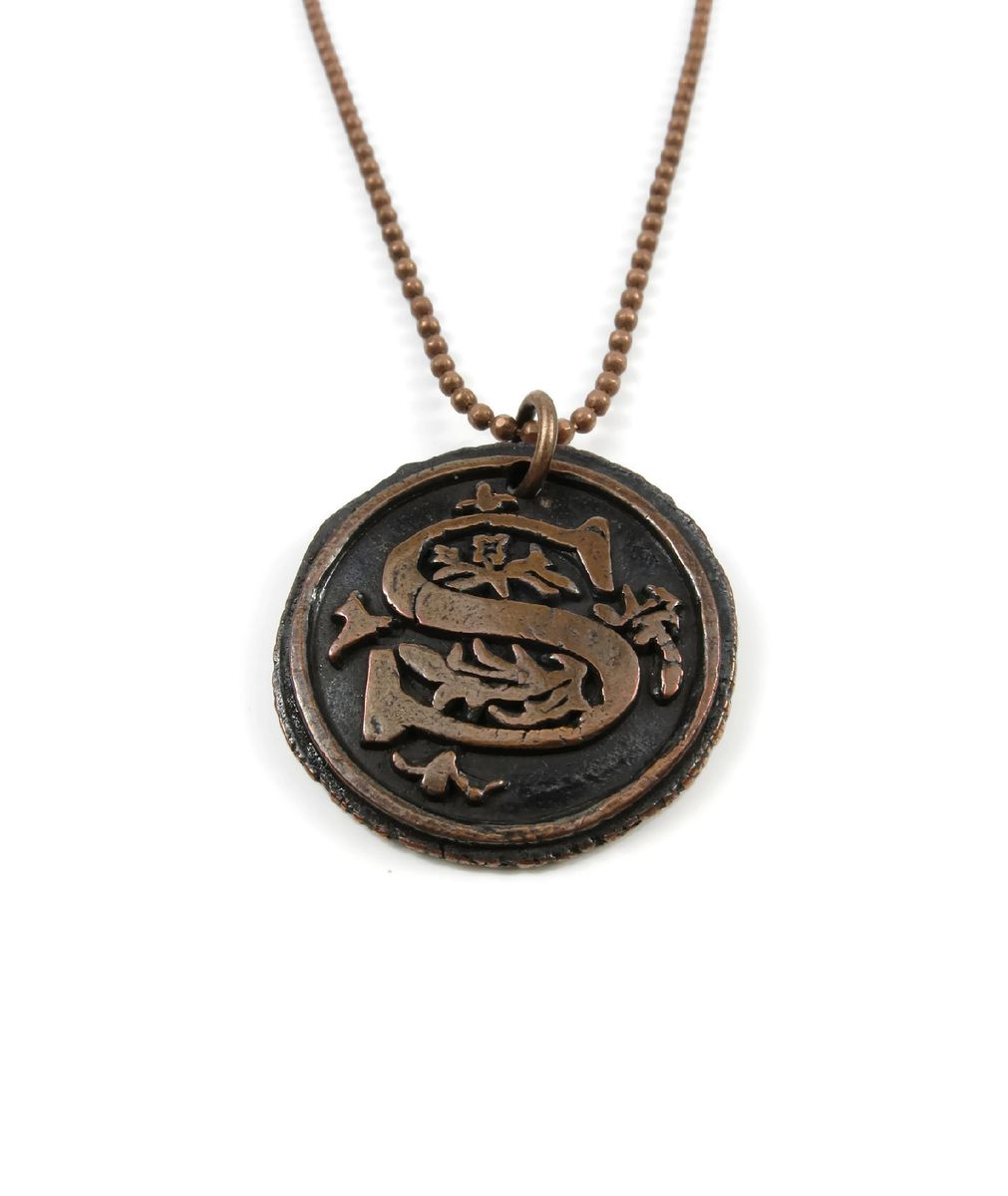 letter s wax seal copper pendant ttereve