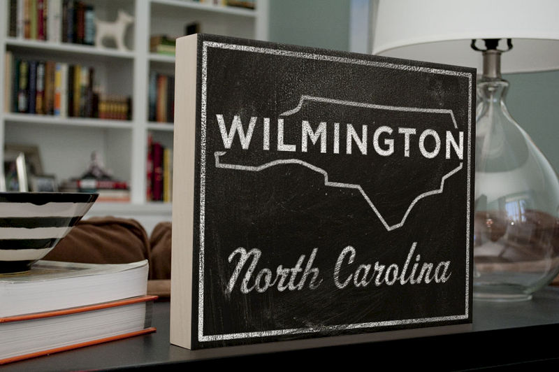 Wilmington Art Box - 11 in x 14 in North Carolina City Print - Chalkboard Art - Custom State Print, Custom State Art - product images  of