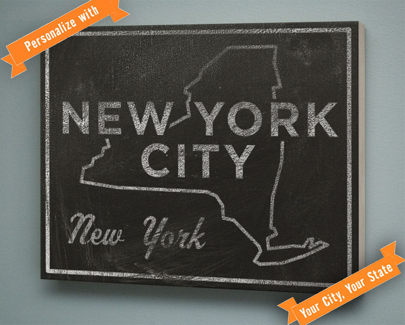 Any City, Any State Art Box - 11 in x 14 in City Print - Chalkboard Art - Custom State Print, Custom State Art, State Map Art - product images  of