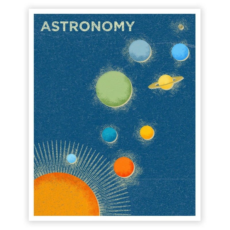 Girls Science Art - Art for Boys Room - Astronomy Art Print 8 in x 10 in Retro Science Art Print - Astronomy Print for Boys Room - product images