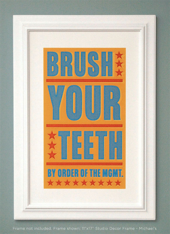 "Bathroom Art - Kids Wall Decor- Brush Your Teeth By Order of Management Print- 8"" x 14"" fits 11"" x 17"" frame w/o mat- Kids Bathroom Wall Art - product images  of"