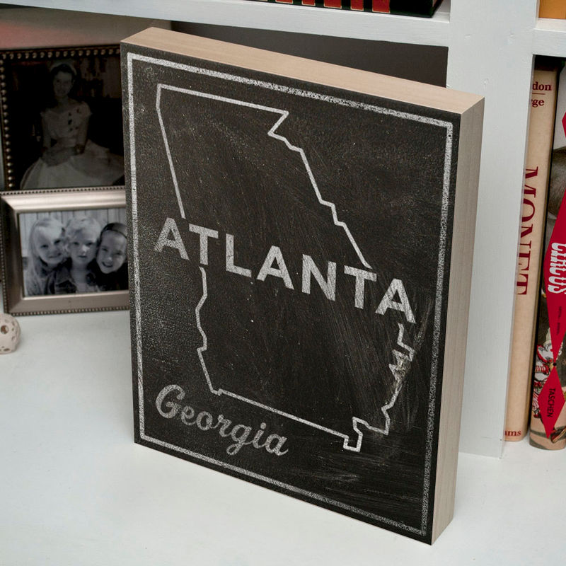"Black and White Art- Atlanta Art- City State Art Box- 11"" x 14"" Atlanta Map Art- Chalkboard Art-  Georgia State Print- Going Away Gifts - product images  of"