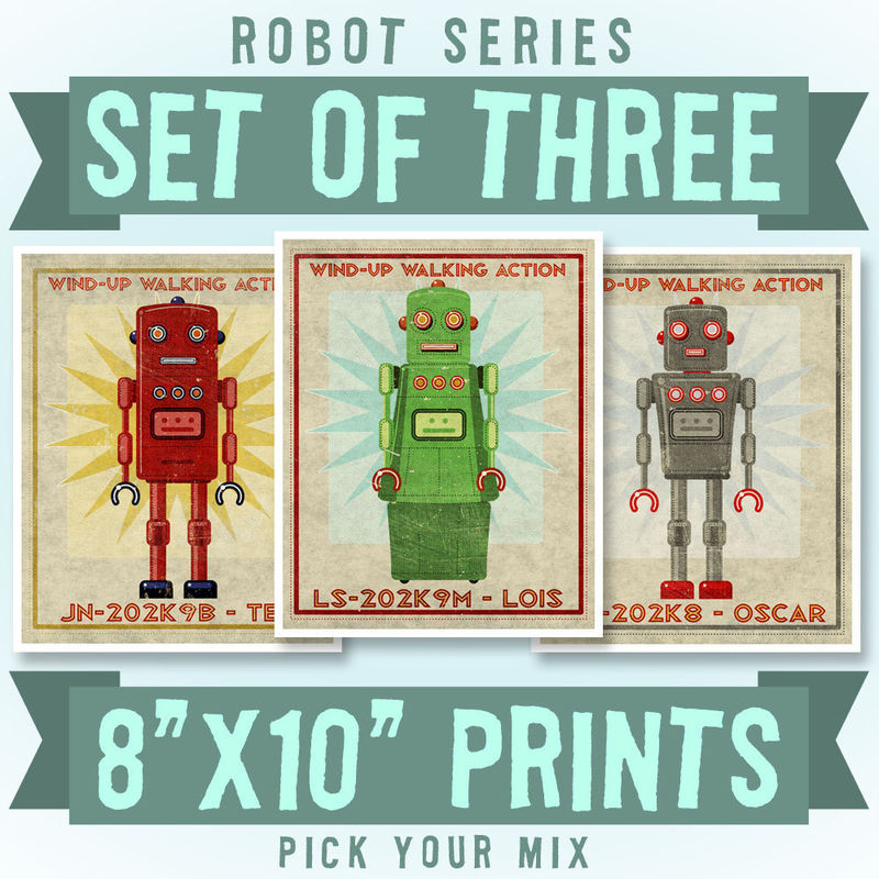Retro Robot Art Prints- 8\