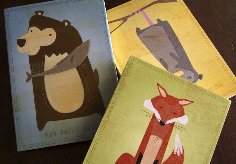 "Woodland Art- Woodland Nursery Art- Woodland Critter Series Art Block- Pick the Print- 5"" x 7"" Ready to Hang Cute Animal Art for Kids Rooms - product images  of"