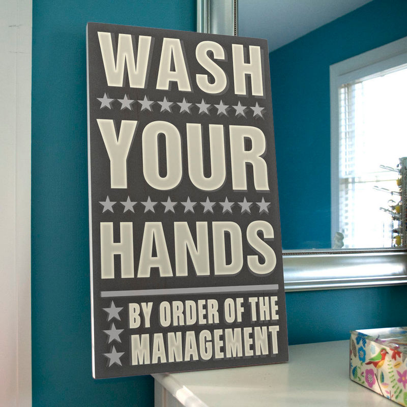 Neutral Bathroom Art  Wash Your Hands By Order Of The Management Word Art  Block