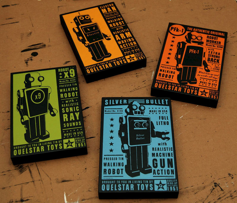 Retro Robot- Quelstar Robot Art Blocks- Set of Four- Robot Wall Decor- Ready to Hang Art Gift for Dad- Gift for Husband - product images