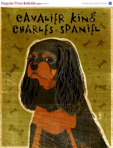Black,and,Tan,Cavalier,King,Charles,Spaniel,Print,8,in,x,10,Pets,Pet_Lover,illustration,print,digital,whimsical,cute,dog,animals,animal,art,brown,king_charles,cavalier,spaniel,paper,ink