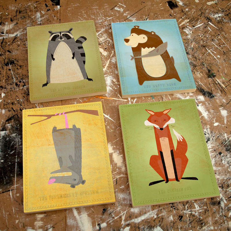 "Woodland Nursery Critter Art Blocks- Set of 4 Art Blocks- Pick the Print- 8"" x 10""- Ready to Hang Art- Boys Nursery Art- Girls Nursery Art - product images  of"