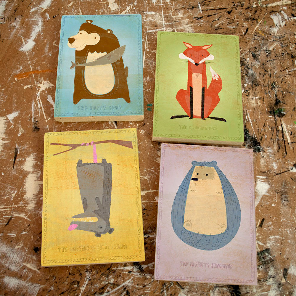 Woodland Art Nursery Critter Set Of 4 Blocks Pick 5 X 7 Ready To Hang Cute Animal For Kids Rooms