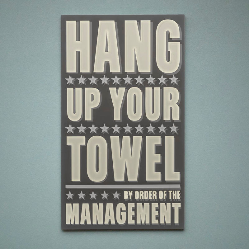 Neutral Bathroom Art  Hang Up Your Towel By Order Of The Management Word Art  Block