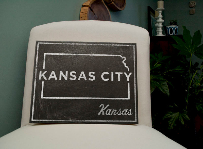 "Kansas City Art- City State Art Box- Kansas City Kansas Map Print- 11"" x 14""- Map of Kansas State Map Art - product images  of"