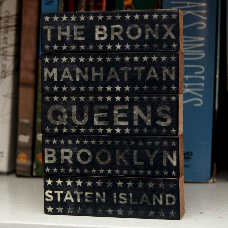 New York City Art- City Blocks- Five Boroughs Art Block Set- Neutral Typographic Art Edition- City Art- City Word Art- City Blocks - product images  of