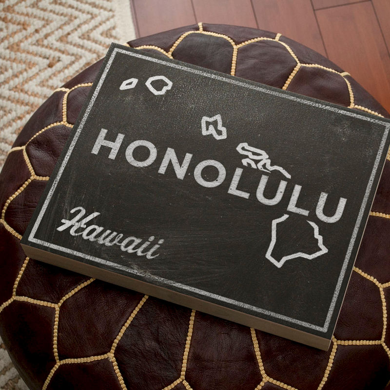 "Honolulu Art- City State Art Box- Honolulu Hawaii Map Print- 11"" x 14""- Map of Hawaii State Map Art - product images  of"
