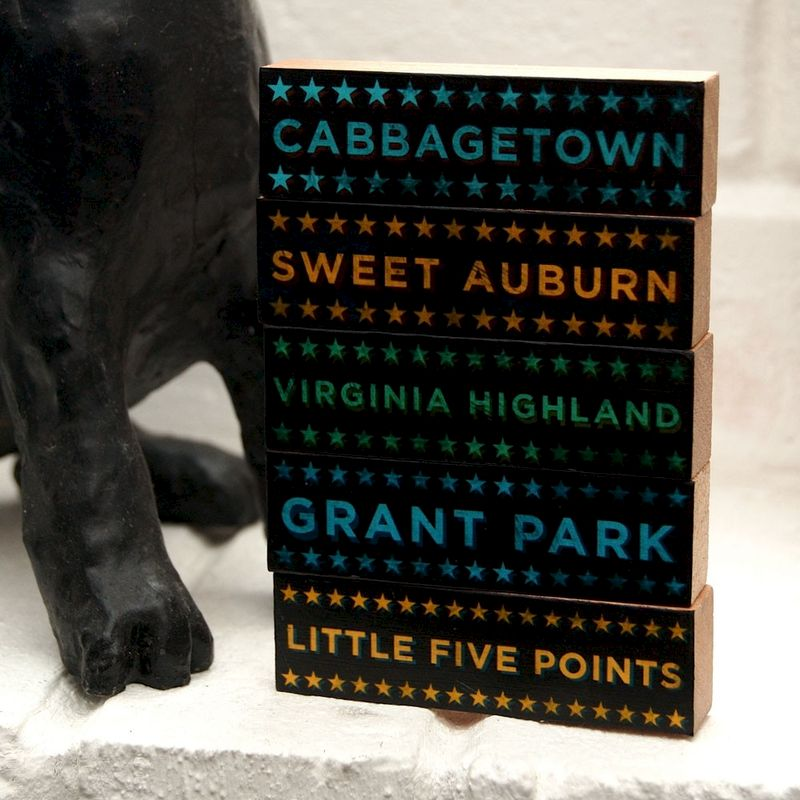 Atlanta Art-  Hoods on Wood- Five Art Block Set- Pick the Hoods- City Art- City Word Art- City Blocks- Gift for Mom- Unique Gift for Dad - product images  of