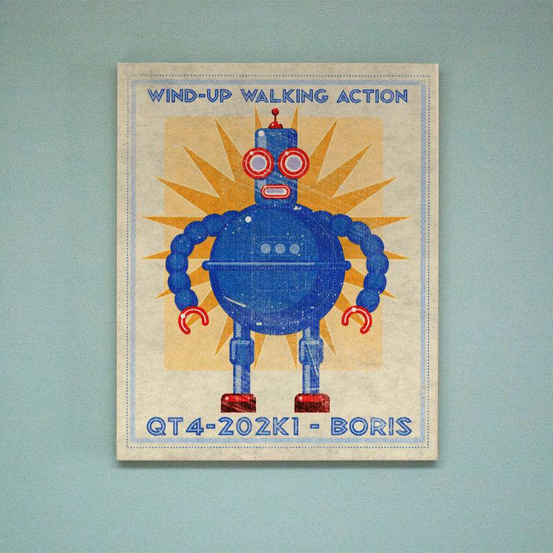 Retro Robot Art Print Box- Pick the Robot Sci Fi Wall Art- 24\