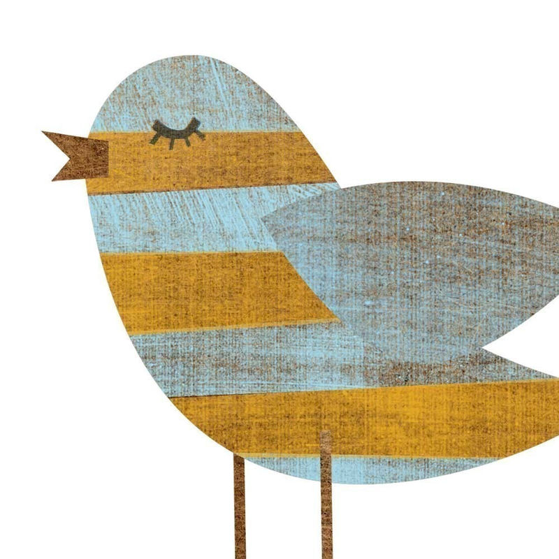 Yellow Blue Stripe Bird Collage Print 5 X 7 Feminine Art Baby Nursery Decor S Room John W