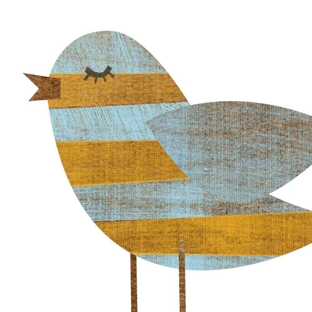 Yellow Blue Stripe Bird Collage Print 5 X 7 Feminine Art