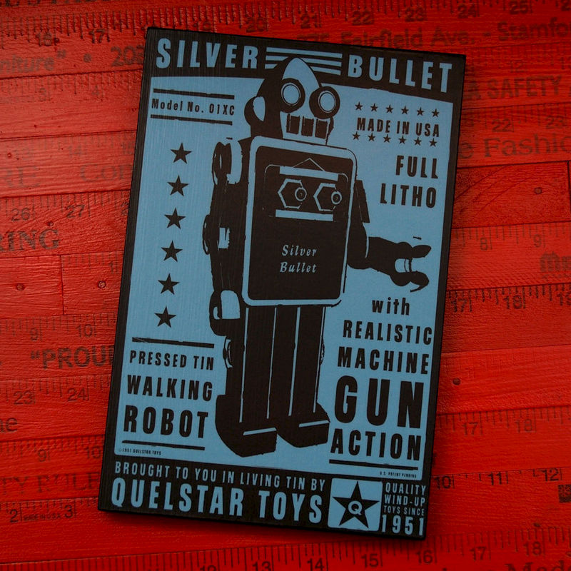 "Retro Robot Print- Quelstar Robot Art Block- 6"" x 9""- Nerd Cave Art- Geek Art- Geekery Art- Robot Nursery Art- Baby Geekery Art - product images  of"